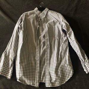 Merona grey checker pattern button down size L